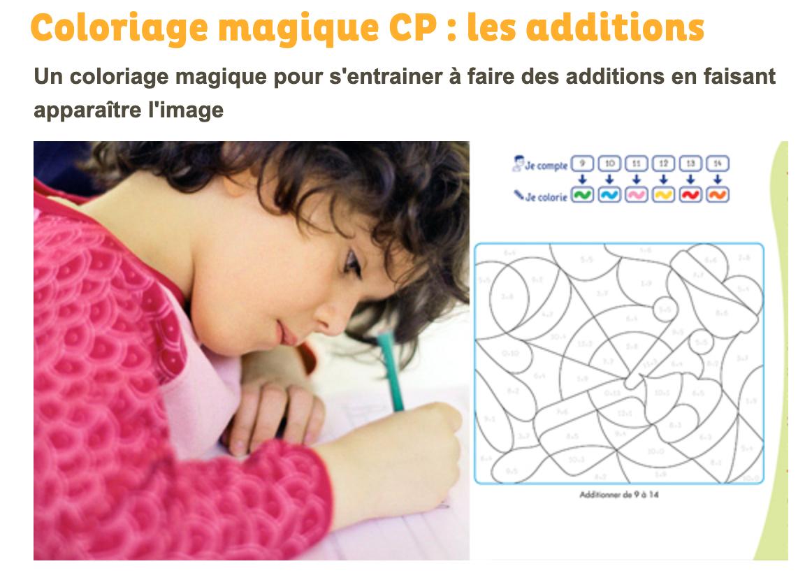 Coloriage Magique Des Additions Grandir Avec Nathan 6foisplus Com