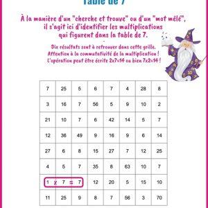 Multiplications cachées - Table de 7